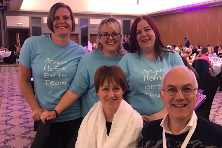 MAMA conference - Angus Hombirth team with Anne Holmes, Chief Midwife Scotland and Professor Jim Thornton, Consultant Obsterician